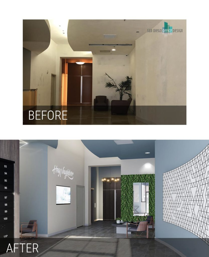 Before and After - Diamond Terrace Lobby